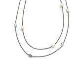 Chisel Stainless Steel Polished Fw Cultured Pearls/cz 2in Ext. Necklace style: SRN151439