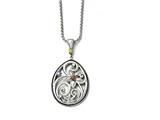 Chisel Stainless Steel Polished/antiqued Multicolor Cz W/1.75in Ext. Necklace style: SRN152118