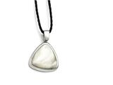 Chisel Stainless Steel Polished Mother Of Pearl W/2in Ext Fabric Cord Necklace style: SRN1522185