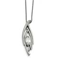 Chisel Stainless Steel Polished/textured Cz W/2in Ext. Necklace style: SRN152424