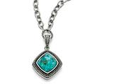 Chisel Stainless Steel Polished/antiqued Imitation Turquoise Necklace style: SRN152618
