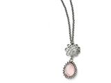 Chisel Stainless Steel Polished Rose Quartz W/2in Ext. Necklace style: SRN152718