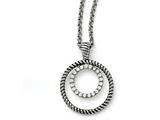 Chisel Stainless Steel Polished And Antiqued Cz Circle Necklace style: SRN152918