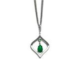 Chisel Stain.steel Polished/antiqued Synthetic Dyed Jade/cz W/2in Ext. Necklace style: SRN153418