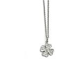 Chisel Stainless Steel Polished Four Leaf Clover With Crystal Necklace style: SRN153618
