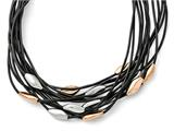 Chisel Stainless Steel Polished Pink Ip-plated Black Rubber W/1in. Ext. Necklace style: SRN1543175
