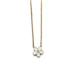 Chisel Stainless Steel Polished Pink Ip-plated/enameled Flower W/cz Necklace style: SRN15531725