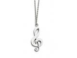 Chisel Stainless Steel Polished Treble Clef, Cz, .75 Inch Ext. Necklace style: SRN155817