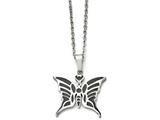 Chisel Stainless Steel Butterfly W/enamel 20in W/ext Necklace style: SRN156120