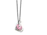 Chisel Stainless Steel Polished Heart W/love and Pink Cz Necklace style: SRN1563175