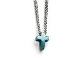 Chisel Stainless Steel Polished Blue Ip-plated Cross Necklace style: SRN157216