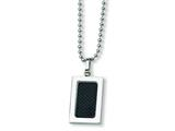 Chisel Stainless Steel Carbon Fiber Necklace - 22 inches