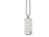 Chisel Stainless Steel Polished And Satin W/black Cz Necklace style: SRN159820