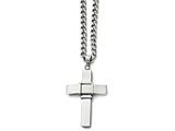 Chisel Stainless Steel Polished And Brushed Cross Necklace style: SRN160322