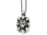 Chisel Stainless Steel Antiqued Skull And Tiger Necklace style: SRN162420