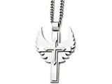 Chisel Stainless Steel Polished/brushed Cross With Wings Necklace style: SRN163320
