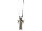 Chisel Stainless Steel Polished Creme/black Enameled Cross Necklace style: SRN163518