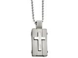 Chisel Stainless Steel Matte And Antiqued Cross Dog Tag Necklace style: SRN165124