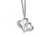 Chisel Stainless Steel Polished Hearts With Crystals W/ 2.25in. Ext. Necklace style: SRN16711575