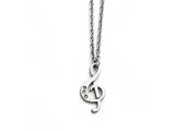 Chisel Stainless Steel Polished Treble Clef With Crystals Necklace style: SRN168418