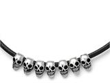 Chisel Stainless Steel Polished/antiqued Skulls Black Leather Cord Necklace style: SRN168918