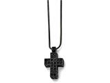 Chisel Stainless Steel Black Ip-plated Black Crystal Cross W/2in Ext Necklace style: SRN16981775