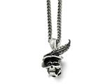 Chisel Stainless Steel Polished And Antiqued Skull With Feather Necklace style: SRN170322
