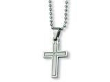 Chisel Stainless Steel Diamond Accent Cross Necklace - 22 inches style: SRN170