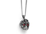 Chisel Stainless Steel Polished And Antiqued Red Crystal Skull Necklace style: SRN171422