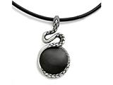 Chisel Stainless Steel Polished And Antiqued Enameled Snake Necklace style: SRN172220