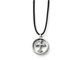 Chisel Stainless Steel Polished Cross Leather Cord Necklace style: SRN173320