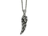 Chisel Stainless Steel Antiqued And Polished W/ Crystal Wing Necklace style: SRN173718