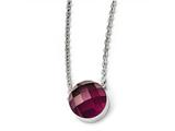 Chisel Stainless Steel Polished Maroon Glass W/1in Ext Necklace style: SRN174118