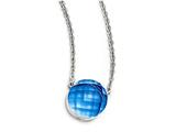 Chisel Stainless Steel Polished Blue Glass W/1in Ext Necklace style: SRN174318