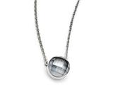 Chisel Stainless Steel Polished Grey Glass W/1in Ext Necklace style: SRN174518