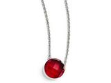 Chisel Stainless Steel Polished Red Glass W/1in Ext Necklace style: SRN174618