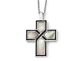 Chisel Stainless Steel Polished Enameled Black Mother Of Pearl Cross Necklace style: SRN174718