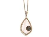Chisel Stainless Steel Polished Rose Ip-plated Shell And Druzy Necklace style: SRN175518