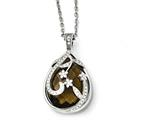 Chisel Stainless Steel Polished Brown Glass And Crystal Reversible Necklace style: SRN175718