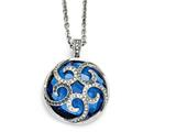 Chisel Stainless Steel Polished Blue Glass And Crystal Reversible Necklace style: SRN176018