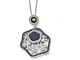 Chisel Stainless Steel Polished Druzy Quartz, Black Mother Of Pearl Necklace style: SRN176218