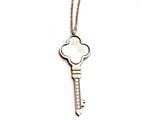 Chisel Stainless Steel Rose Ip-plated Cz and Mop Key W/ 2in  Ext Necklace style: SRN177616