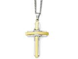 Chisel Stainless Steel Polished Yellow Ip-plated Cross Necklace style: SRN178424