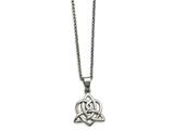 Chisel Stainless Steel Polished Heart With Trinity Knot Necklace style: SRN179618