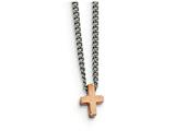 Chisel Stainless Steel Polished Rose Ip-plated Cross Necklace style: SRN179716