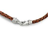 Chisel Stainless Steel Polished Woven Brown Leather Necklace style: SRN18031625