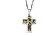 Chisel Stainlesssteel Polished Printed Browncamo Under Rubbercross Necklace style: SRN180722