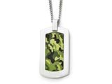 Chisel Stainless Steel Polished Printed Green Camo Under Rubber Necklace style: SRN180822
