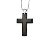 Chisel Stainless Steel Polished Black Ip-plated Cross Necklace style: SRN181824