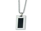 Chisel Stainless Steel Carbon Fiber Necklace - 24 inches style: SRN181